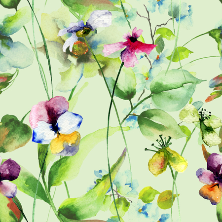 wrappers: Seamless pattern with wild flowers, watercolor illustration