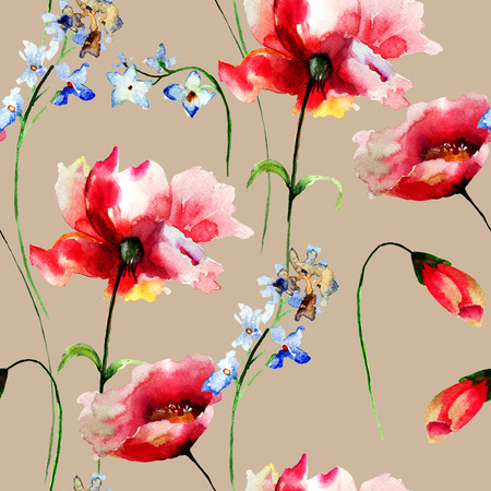 wrappers: Seamless pattern with spring flowers, watercolor illustration