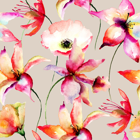 Seamless wallpaper with Lily and Poppy flowers, watercolor illustration