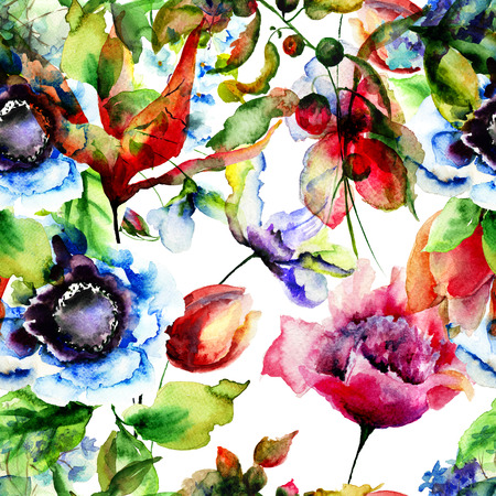 Seamless pattern with Stylized spring flowers, watercolor illustration