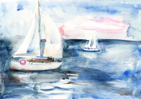 canvas art: Ships in the sea, watercolor painting