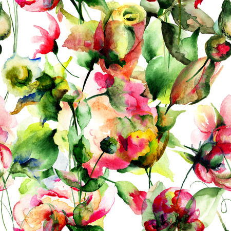 Seamless wallpaper with garden flowers, watercolor illustration Stock Photo