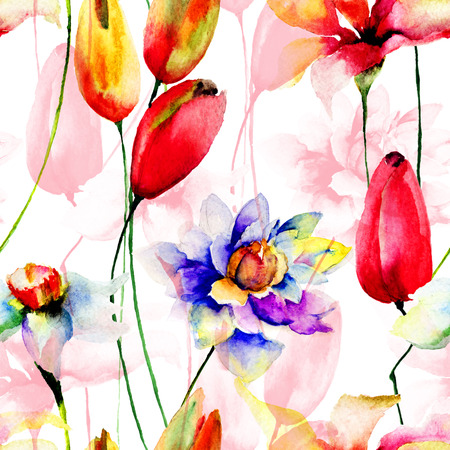 Seamless wallpaper with colorful flowers, watercolor illustration