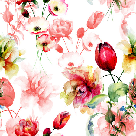 painting and stylized: Stylized seamless background with wild flowers, Watercolor painting