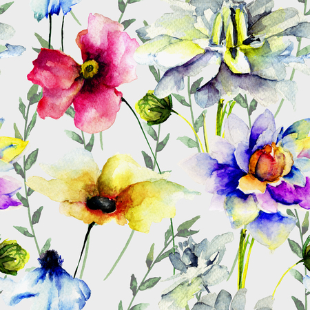 seamless floral: Floral seamless wallpaper, watercolor illustration