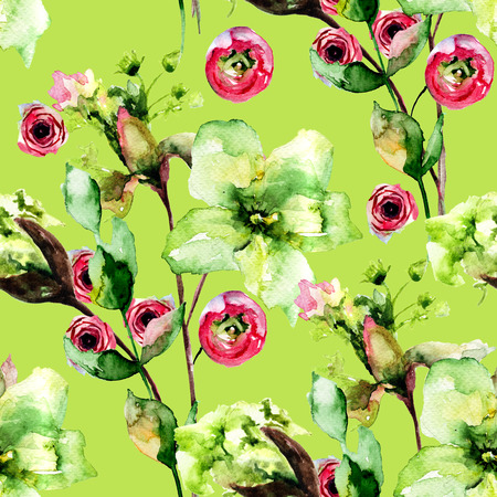 Seamless pattern with Spring flowers, watercolor illustration