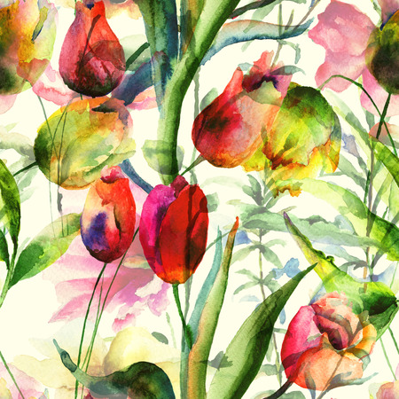 Seamless wallpaper with Tulips flowers, Watercolor painting