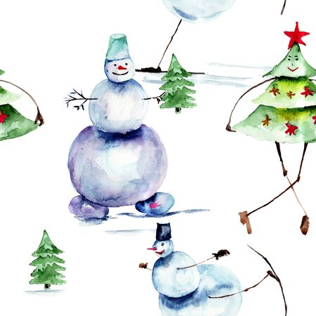 detailed image: Christmas seamless pattern, watercolor painting