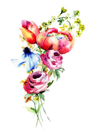 Decorative summer flowers, watercolor illustration
