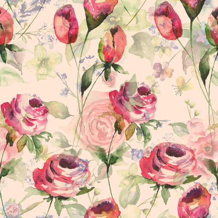 watercolor texture: Seamless wallpaper with spring flowers, watercolor illustration Stock Photo