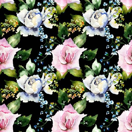 Seamless pattern with colorful flowers, watercolor illustration   Stock Photo