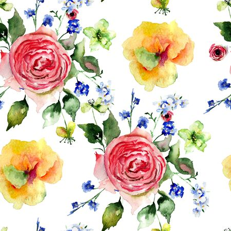 Seamless pattern with colorful flowers, watercolor illustration
