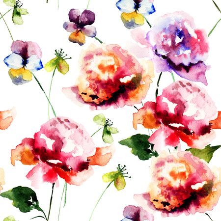 Seamless wallpapers with Stylized flowers, watercolor illustration