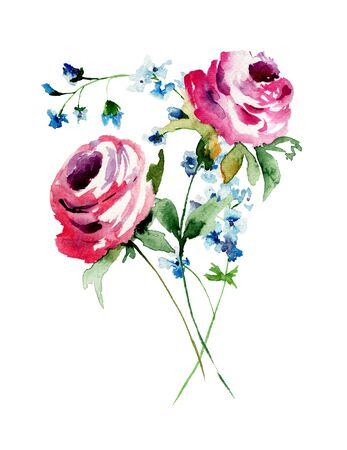 Colorful wild flowers, watercolor illustration