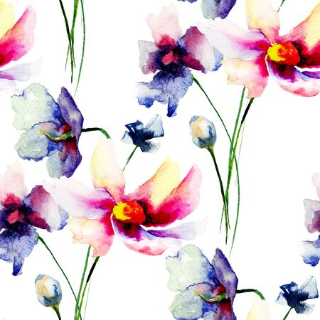 Seamless wallpapers with Decorative Gerber flowers, watercolor illustration Stock Photo