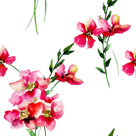 Seamless pattern with Original flowers, watercolor illustration
