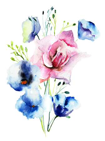Decorative wild flowers, watercolor illustration Stock Photo