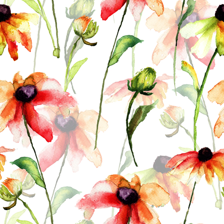 Seamless pattern with daisy flowers, watercolor illustration