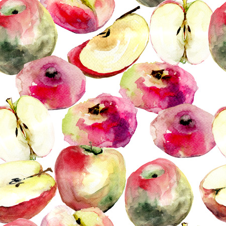 yellow stem: Watercolor illustration of Donut peaches and apples, seamless pattern  Stock Photo