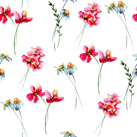 Seamless wallpaper with Stylized wild flowers, watercolor illustration