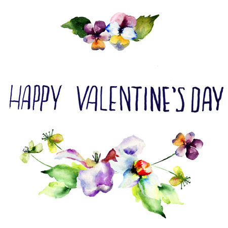 flower layout: Original floral background with flowers and title Happy Valentines day, watercolor illustration Stock Photo