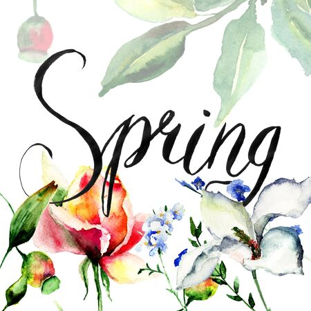 Template for card with flowers and title Spring, watercolor illustration Stock Photo