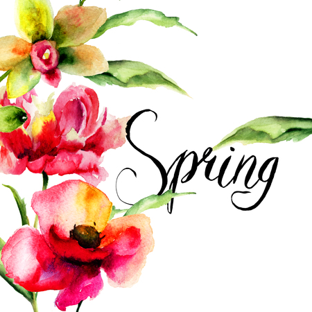 Original Summer flowers with title Spring, watercolor illustration Stock Photo
