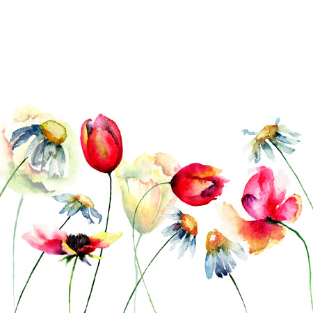 Decorative summer flowers, watercolor illustration
