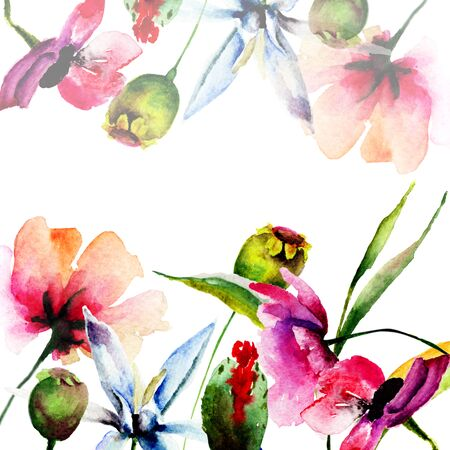 flower layout: Original floral background with flowers, watercolor illustration