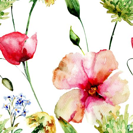 Seamless pattern with spring flowers, watercolour illustration