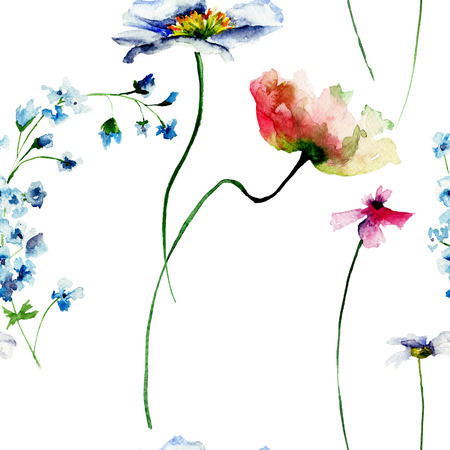 wrappers: Seamless pattern with summer flowers, watercolour illustration