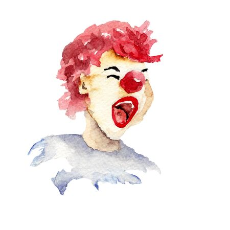 hair mask: Happy clown with smile, watercolor illustration