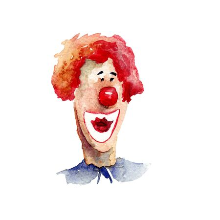 hair mask: Original watercolor illustration with clown