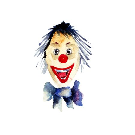 hair mask: Watercolour illustration of clown Stock Photo