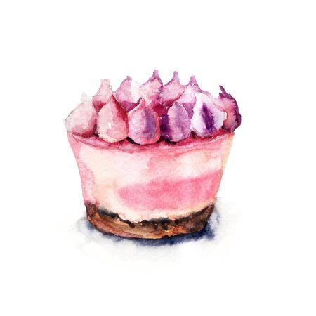 tortas de cumpleaños: Watercolor illustration of cake