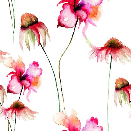 Template for card with Gerber and Poppy flowers, watercolour illustration Stock Photo