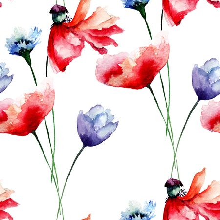 Seamless pattern with flowers, watercolour illustration Stock Photo