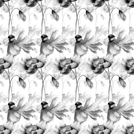 tile pattern: Monochrome seamless wallpaper with flowers, watercolor illustration