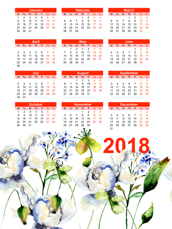 Template for calendar 2018 with decorative wild flowers, watercolor illustration