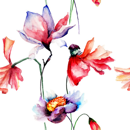 Seamless pattern with Poppies and Magnolia flowers, watercolor illustration
