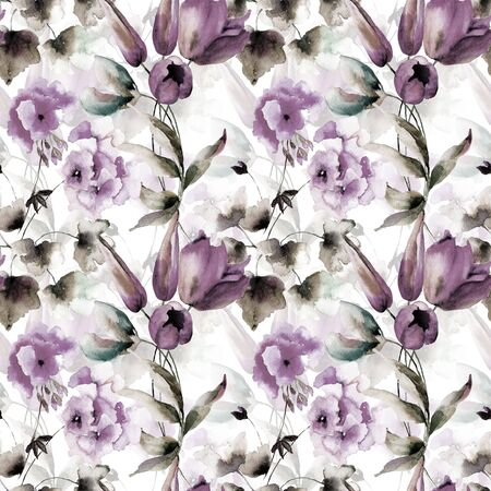 Seamless pattern with wild flowers, original watercolor illustration Stock Photo