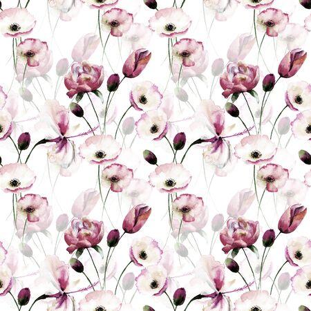 ポピーの花、シームレス パターン水彩画