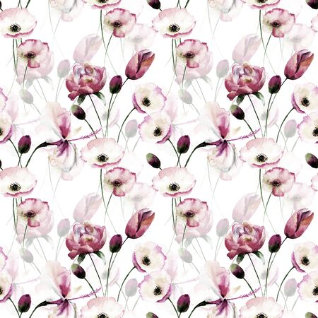 Seamless pattern with Poppy flowers, Watercolor painting