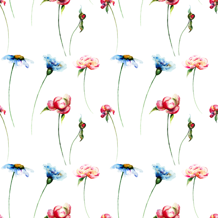Seamless pattern with wild flowers, watercolour illustration