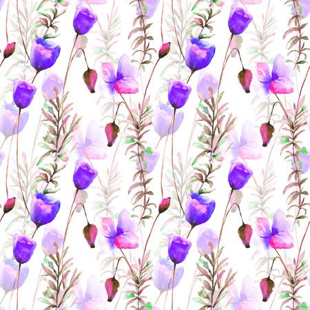 Illustrazione stilizzata dei fiori del papavero, carta da parati senza cuciture Archivio Fotografico - 92043028