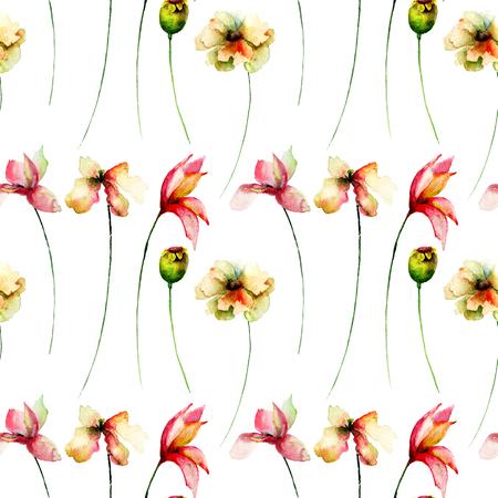 Modello senza cuciture con i fiori dell'acquerello. Illustrazione ad acquerello Archivio Fotografico - 92044111