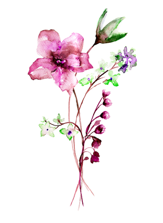 Stylized flowers watercolor illustration