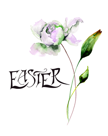 Peony flowers with title Easter, watercolor illustration