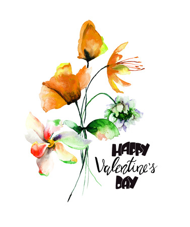 Original flowers watercolor illustration with title Happy Valentine's day