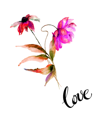 Template for greeting card with calligraphy. Gerber flowers with title love, watercolor illustration